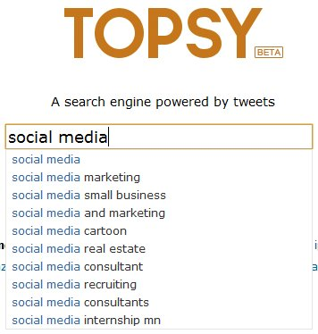 Topsy Suggested Search