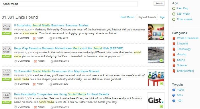 Tweetmeme Search Results