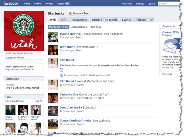 Starbucks auf Facebook
