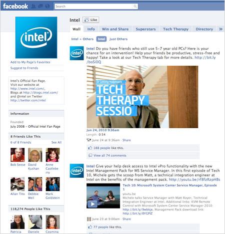 Intel's Facebook page
