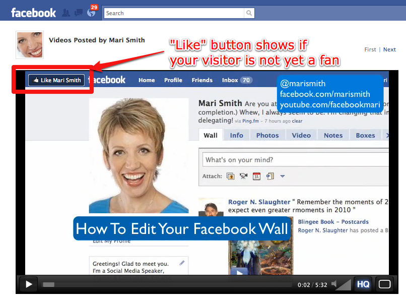 (Screenshot shows the same video on the original page of the fan page with the Like button)