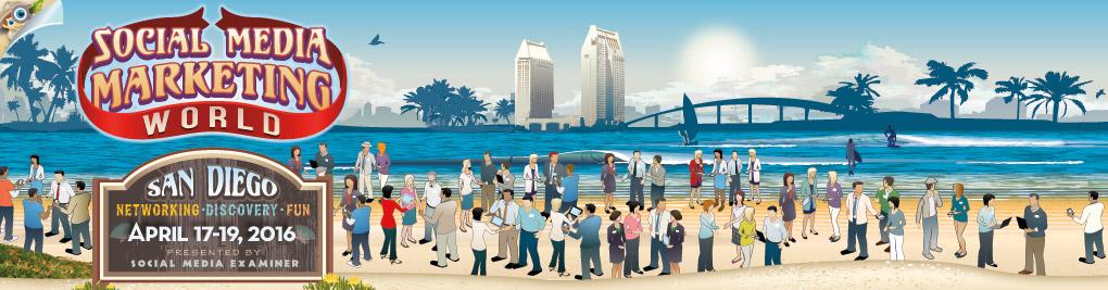 Banner of Social Media Marketing World - San Diego. Presented by Social Media Examiner.