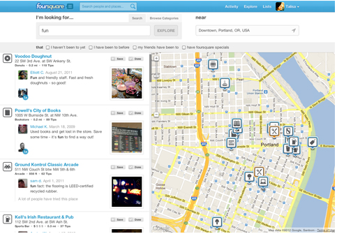 foursquare's explore now on the web