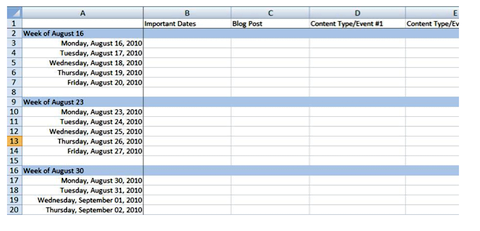 example of a template for a master editorial calendar