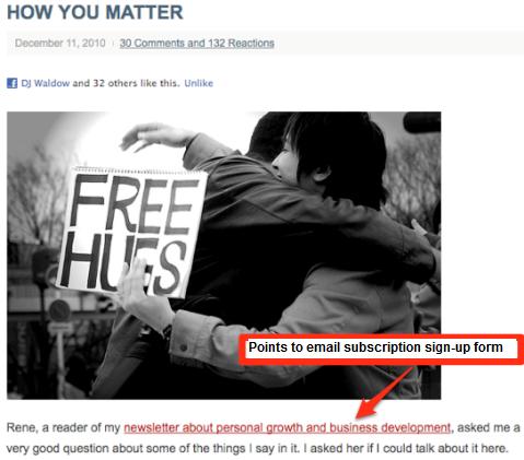 E-Mail-Anmeldeformular auf Blog-Post