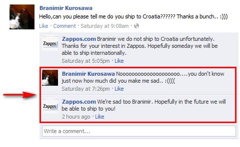 zappos friendly response