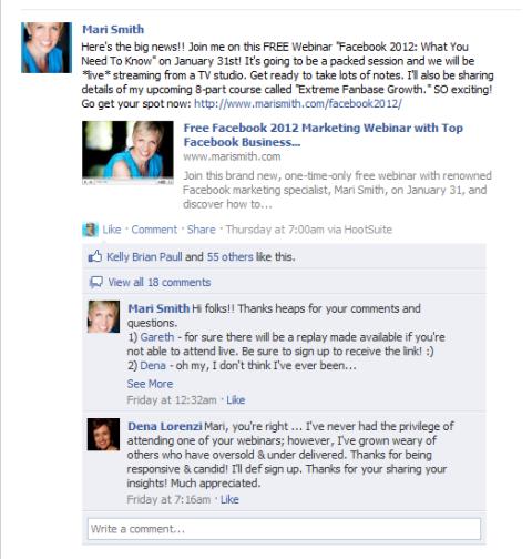 Mari Smith Fan Seite Beitrag