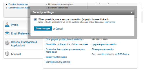 linkedin secure settings