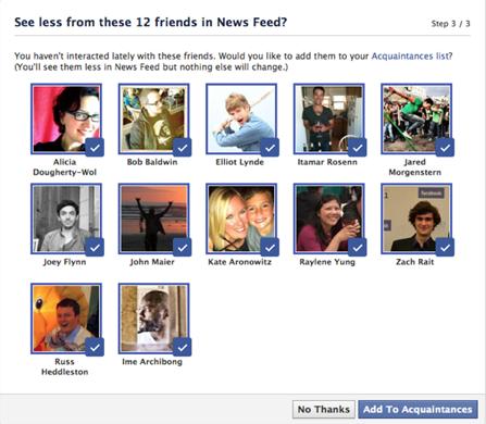 facebook acquaintance list suggestions