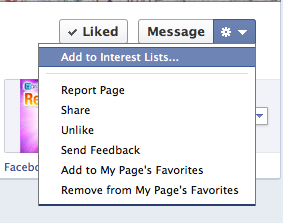 Facebook Interessenliste