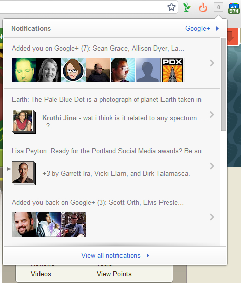 google+ notifications chrome