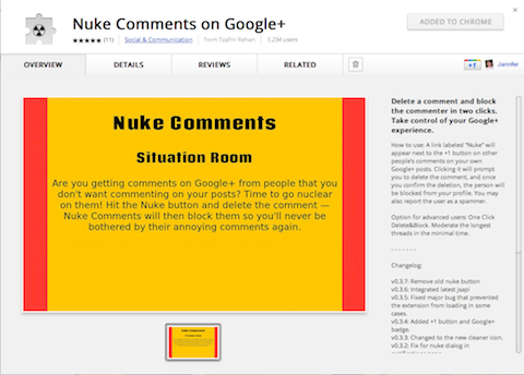nuke comments on google+