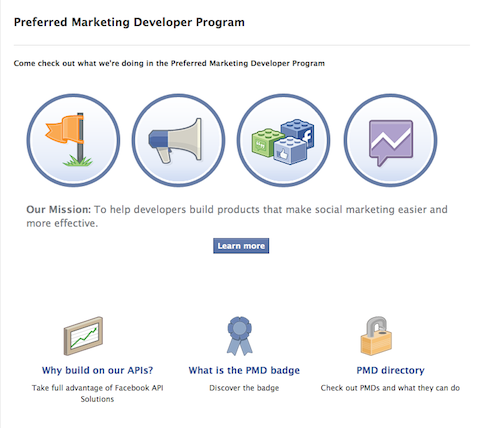facebook preferred marketing developer program
