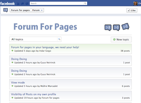 forum for pages