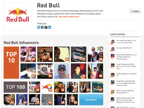 klout redbull page