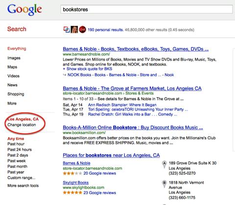 google change location