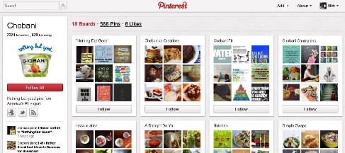 chobani pinterest profile