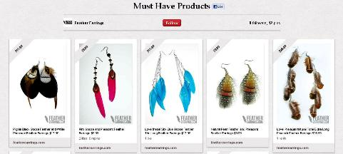 feather earrings pinboard