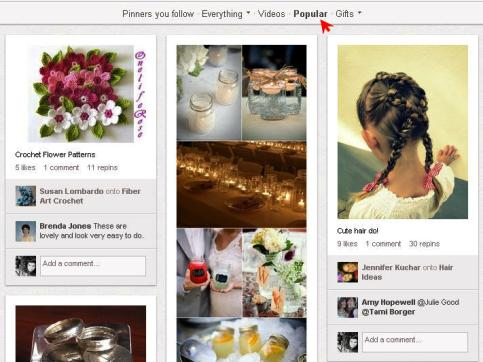 popular page on pinterest