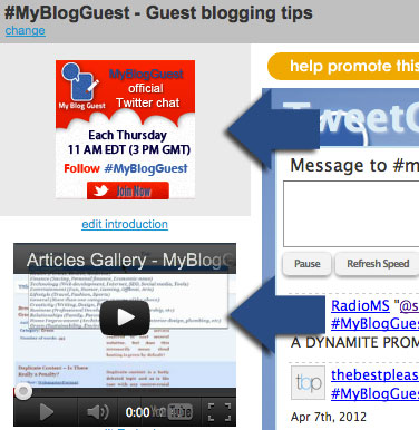 Twitter chat promotional media