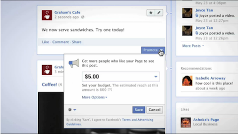 Facebook beworbene Beiträge