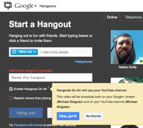 enable hangouts on air