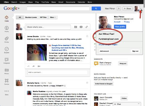 Wählen Sie Google Plus Seite