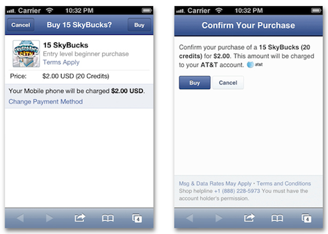facebook mobile payment