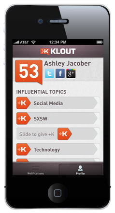 klout iphone app update