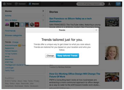 Twitter maßgeschneiderte Trends