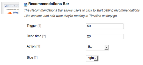 recommendation bar settings