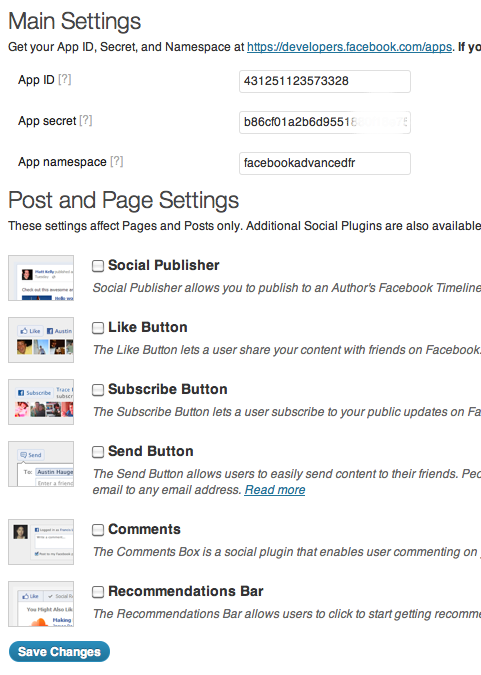 settings facebook plugin