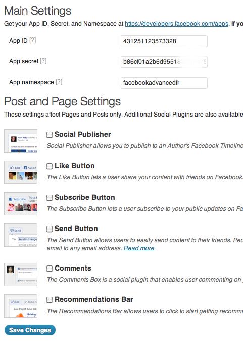 settings facebook plugin