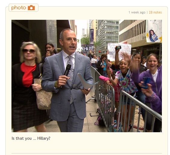 today show hillary sighting