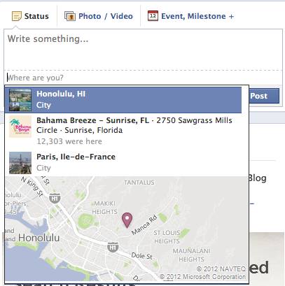 facebook page update location