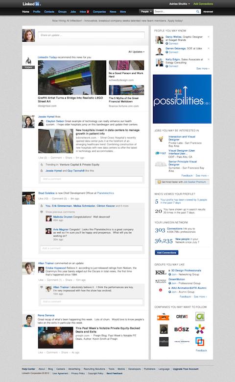 linkedin simpler home page