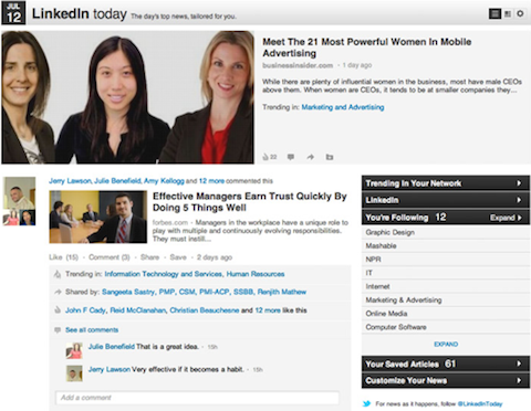linkedin today social features