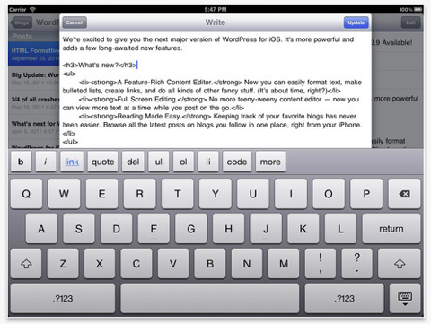 wordpress app ipad