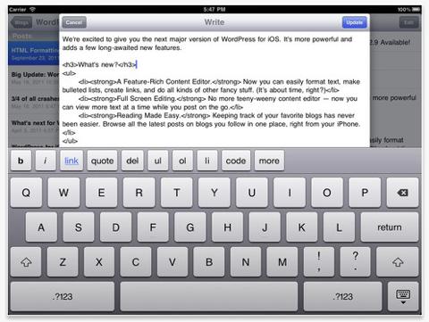 wordpress app ipad