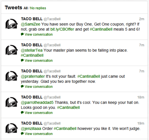 taco bell twitter feed