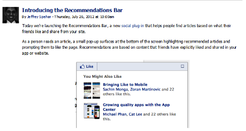 recommendations bar announcement