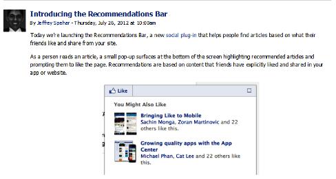 recommendations bar announcement