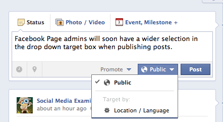 facebook target post selection