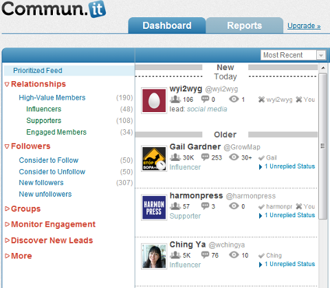 Commun.it Dashboard & Prioritized Feed