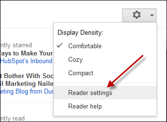 google reader settings