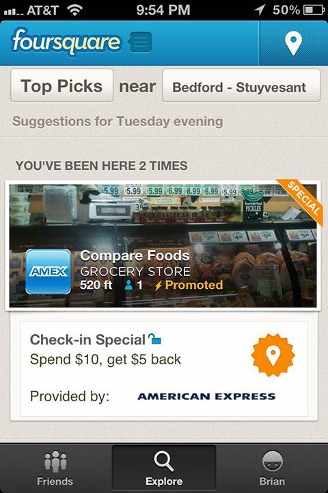 foursquare specials amex