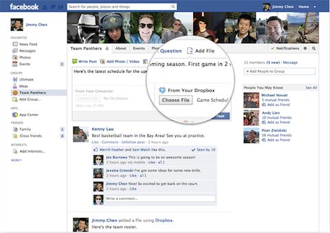 dropbox in facebook groups