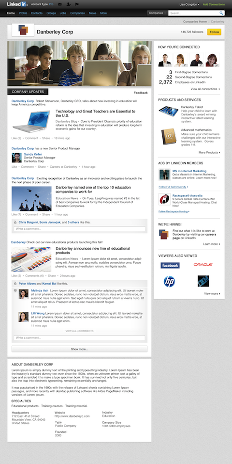Refreshed look Company Pages on Linkedin screenshot