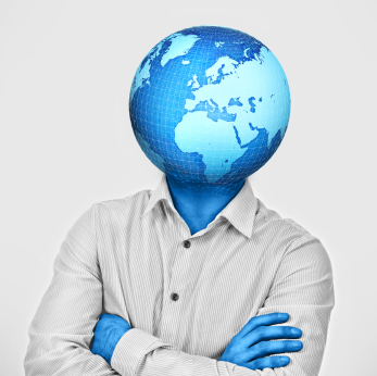 man with earth head