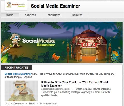 social media examiners linkedin company page banner